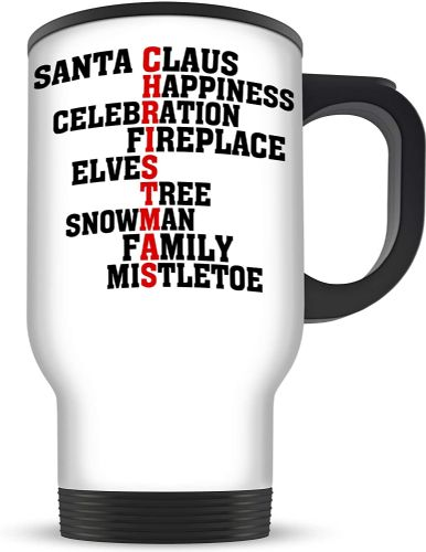 14oz Assorted Christmas Words Xmas Novelty Aluminium Travel Mug